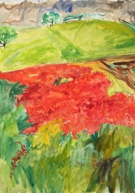 """Alessano """"Sfumature in un campo di papaveri"""" – olio su tela – cm… anno 2019"""